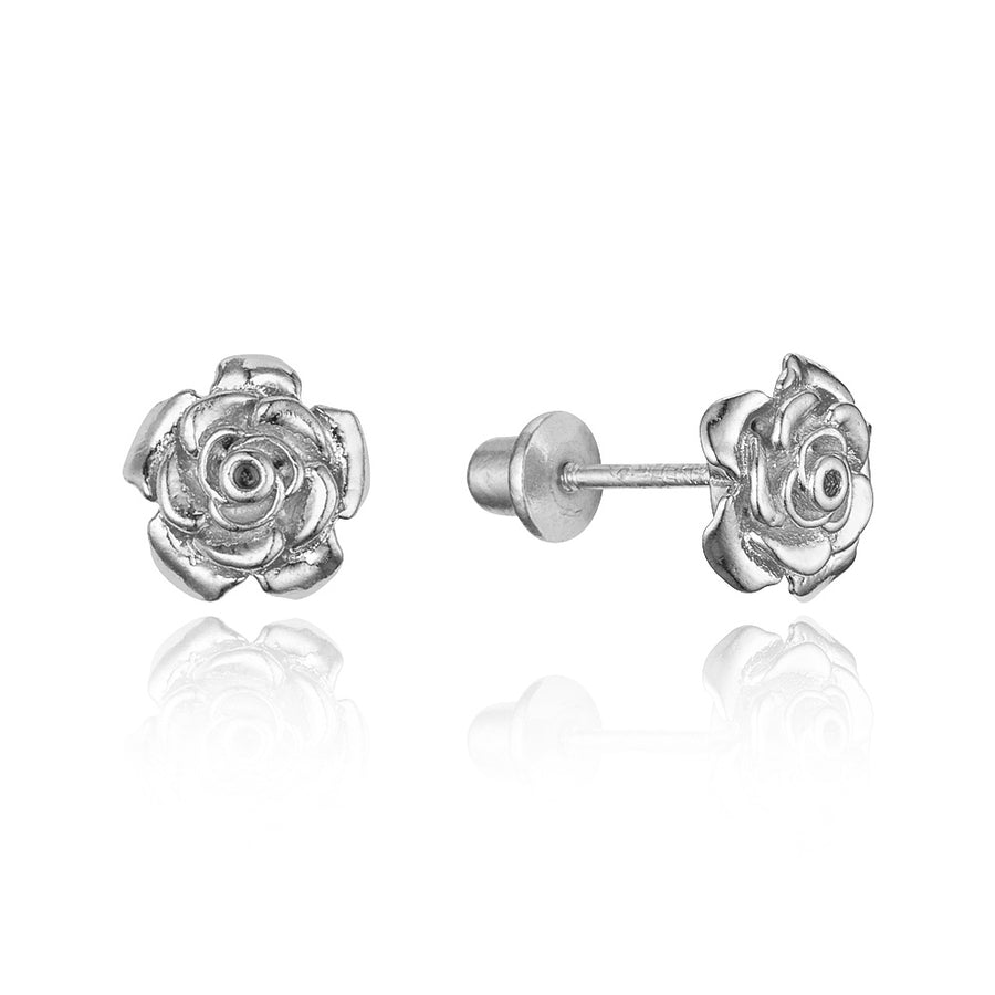 925 Sterling Silver Rhodium Plated Rose Flower CZ Screwback Baby Girls Earrings