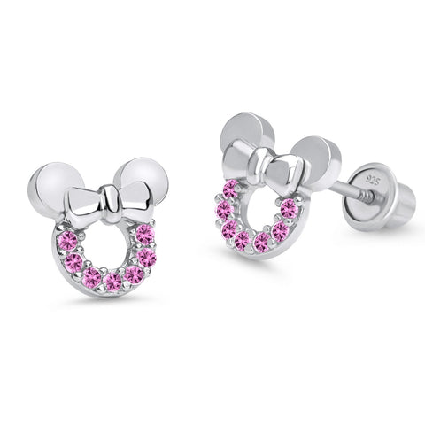925 Sterling Silver Rhodium Plated Mouse CZ Screwback Baby Girls Earrings