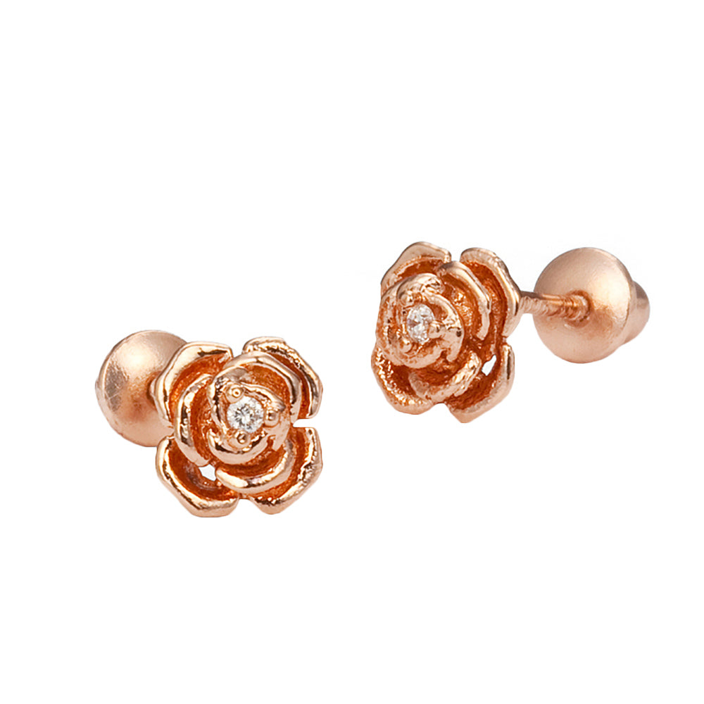 Rose Gold Tone Rose CZ Screwback Baby Girls Earrings with Sterling Silver Post