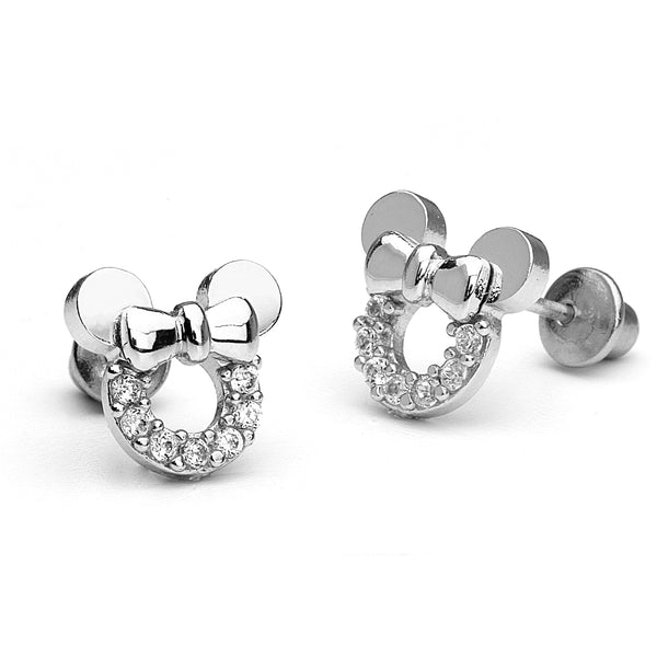 925 Sterling Silver Rhodium Plated Mouse Screwback Girls Earrings