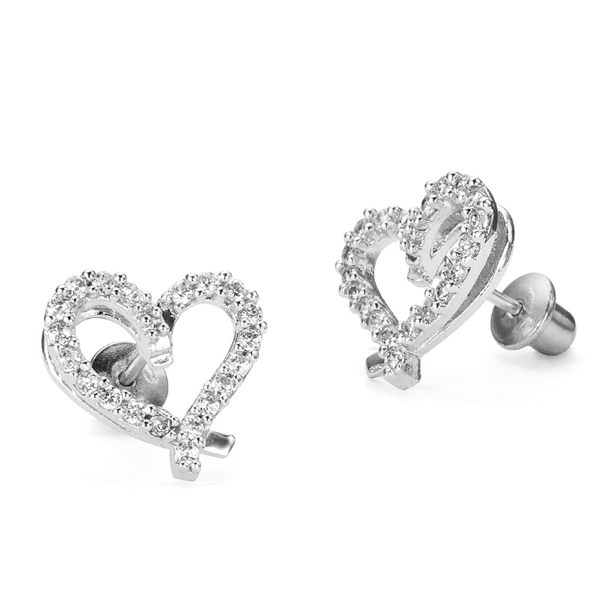 925 Sterling Silver Rhodium Plated Open Heart CZ Screwback Baby Girls Earrings