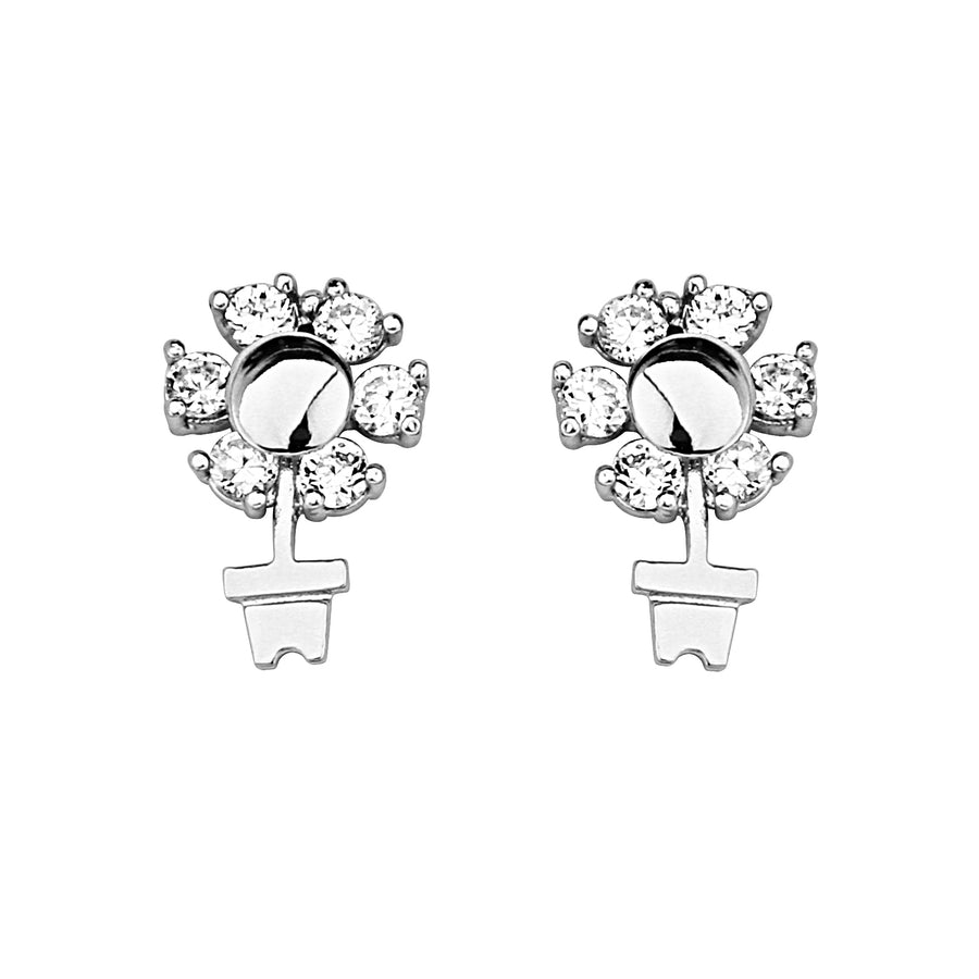 925 Sterling Silver Rhodium Plated Flower Pot CZ Screwback Baby Girls Earrings