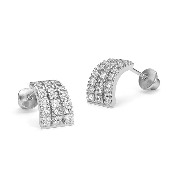 925 Sterling Silver Rhodium Plated 3 Line Channel Cubic Zirconia Screwback Baby Girls Earrings