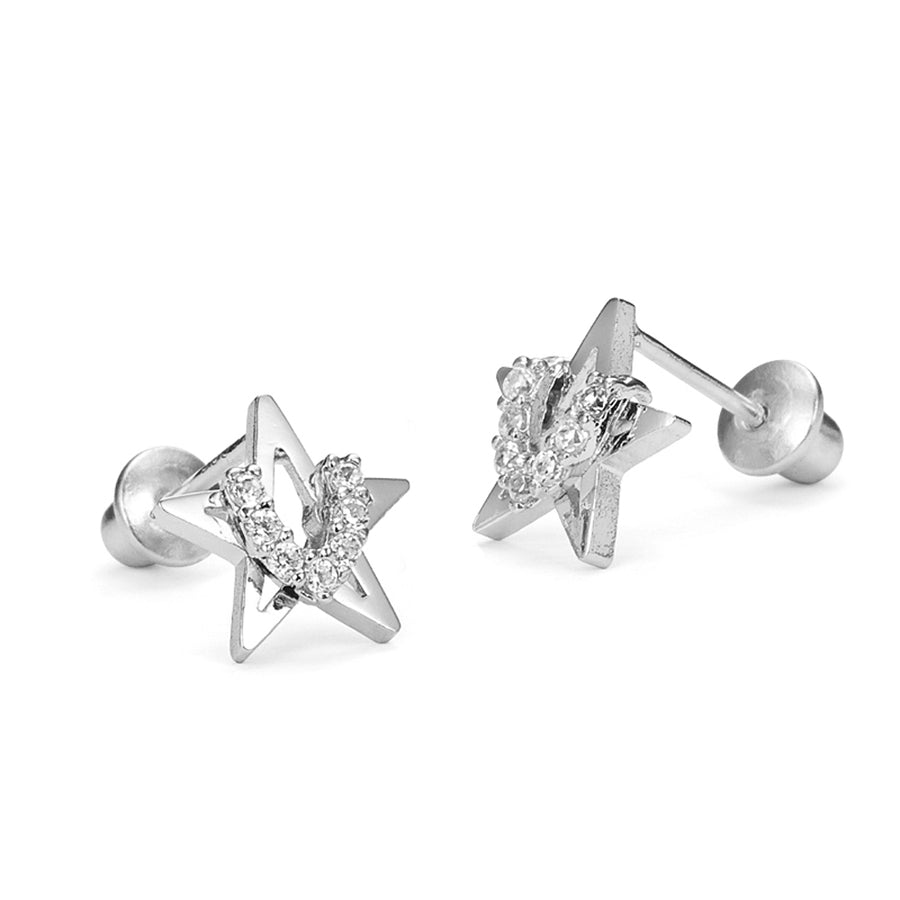 925 Sterling Silver Rhodium Plated Star CZ Screwback Baby Girls Earrings