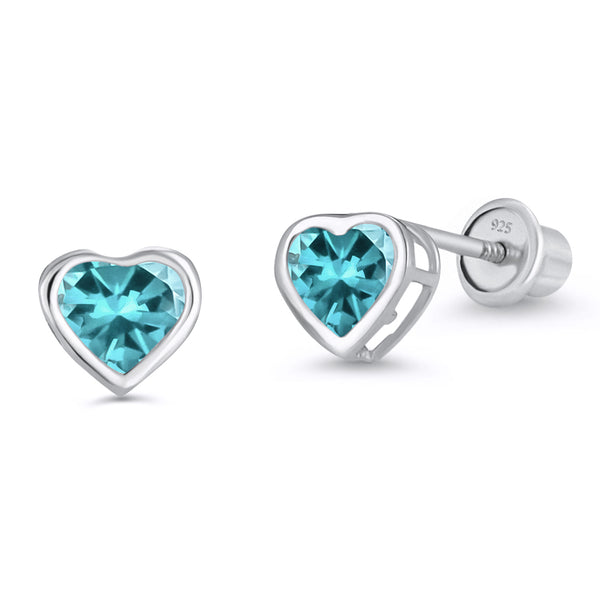 Sterling Silver Rhodium Plated CZ 4mm Heart Bezel Stud Screwback Girls Earrings