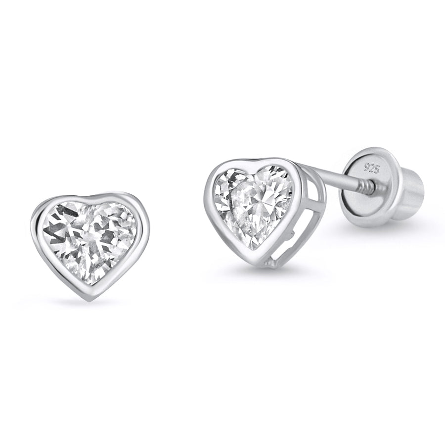 925 Sterling Silver Rhodium Plated 4mm Heart CZ Screwback Baby Girls Earrings