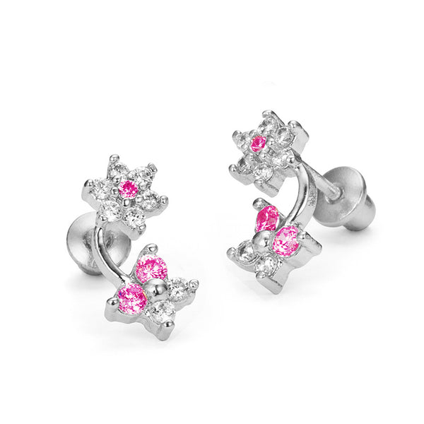 Sterling Silver Rhodium Plated Flower Butterfly Screwback Girls Earrings