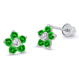 Sterling Silver Rhodium Plated CZ Flower Screwback Girls Earrings