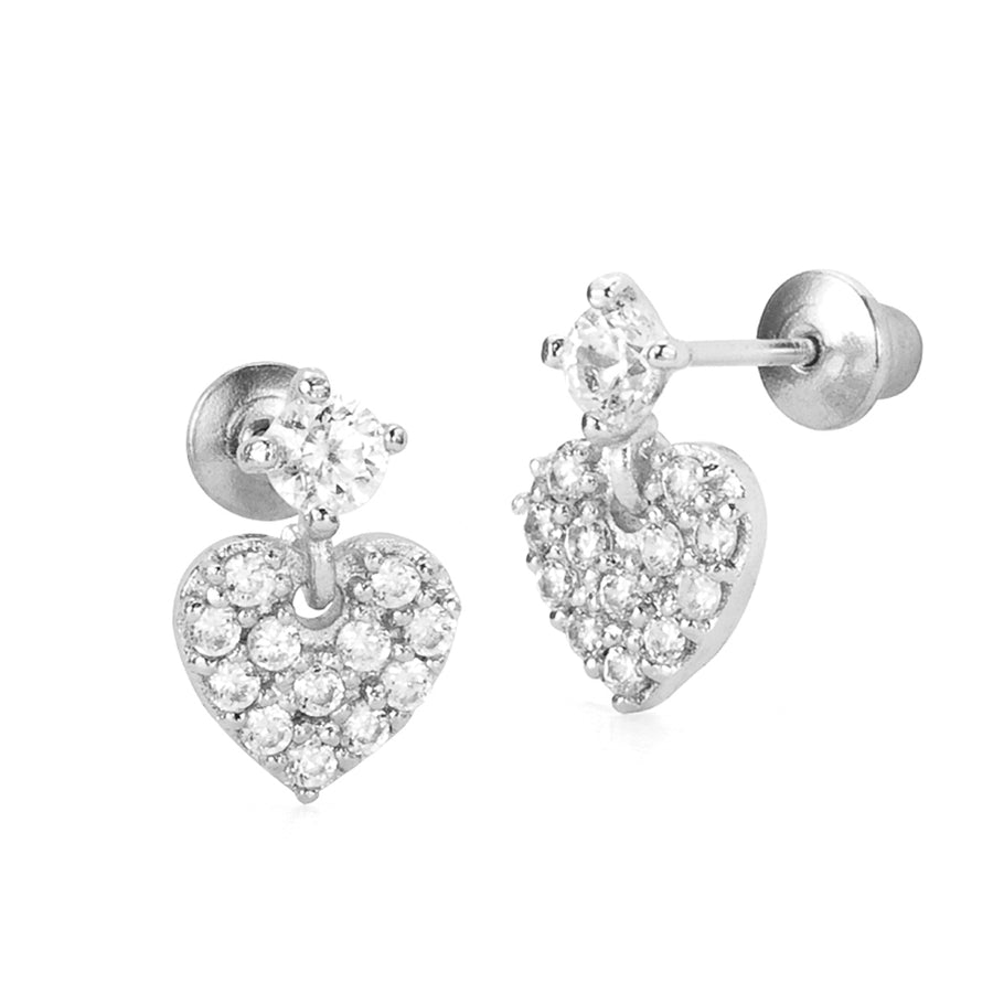925 Sterling Silver Rhodium Plated Pave Heart CZ Screwback Baby Girls Earrings