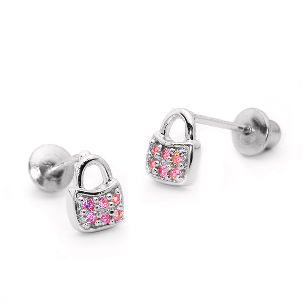 Sterling Silver Rhodium Plated Pink Handbag Screwback Girls Earrings