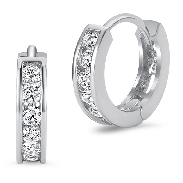 925 Sterling Silver Rhodium Plated Channel CZ Baby Girl Hoop Huggie Earrings