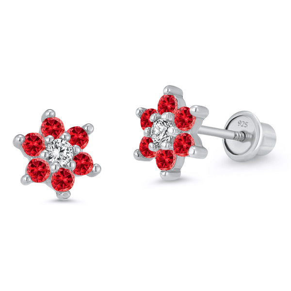 925 Sterling Silver Rhodium Plated Flower CZ Screwback Baby Girls Earrings