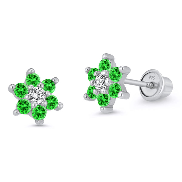 Sterling Silver Rhodium Plated Green Flower Screwback Girls Earrings