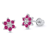 Sterling Silver Rhodium Plated Red Flower Screwback Girls Earrings