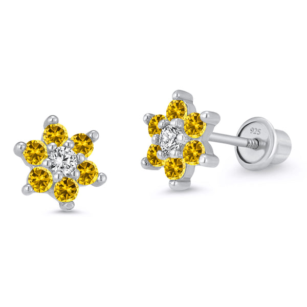 Sterling Silver Rhodium Plated Cubic Flower Screwback Girls Earrings