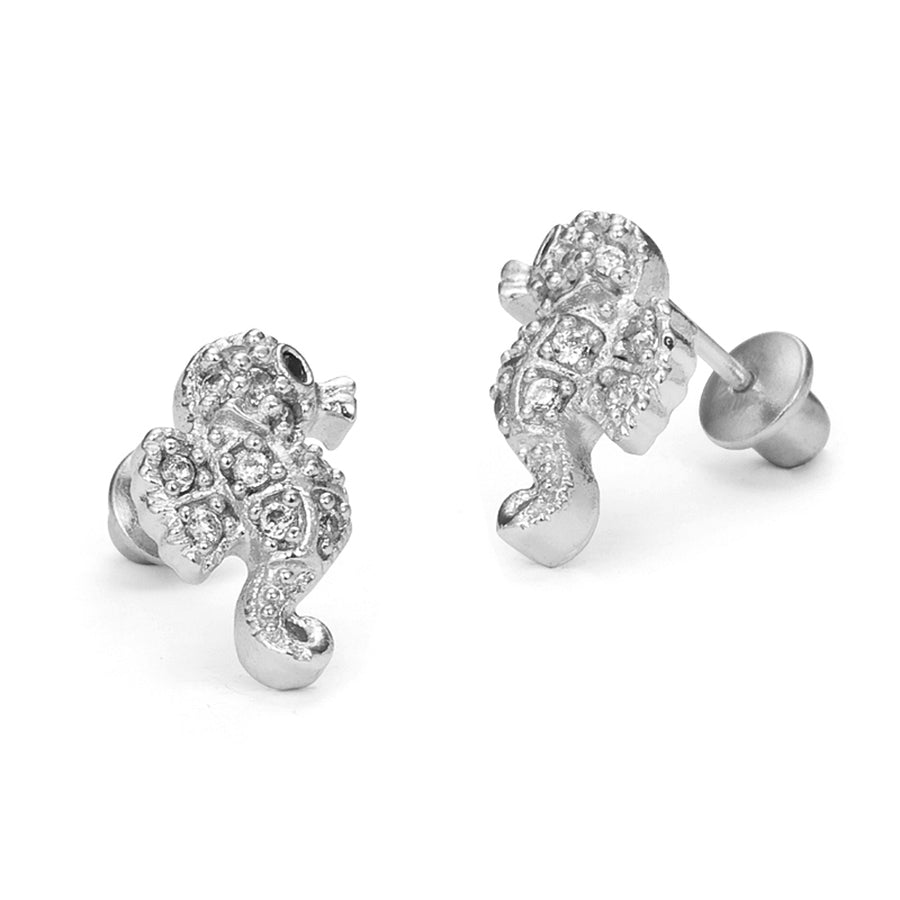 925 Sterling Silver Rhodium Plated Sea Horse CZ Screwback Baby Girls Earrings