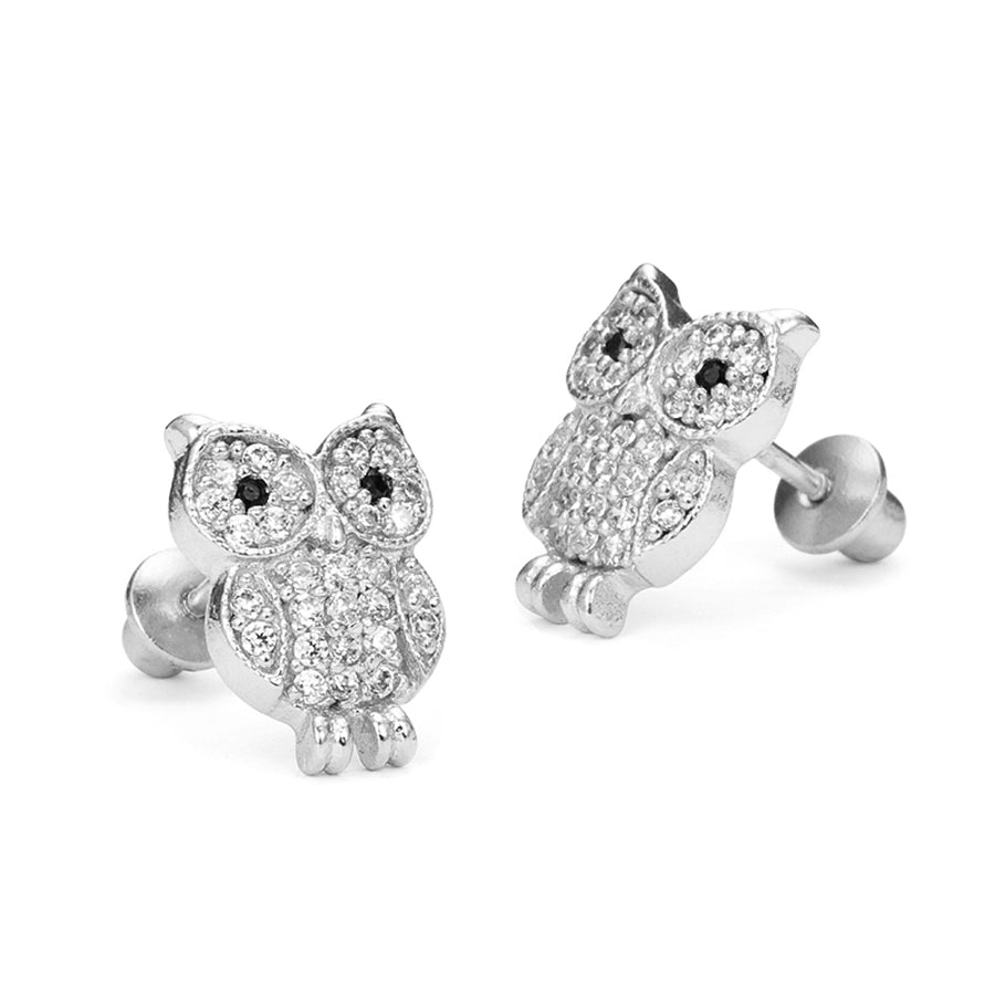 925 Sterling Silver Rhodium Plated Owl CZ Screwback Baby Girls Earrings