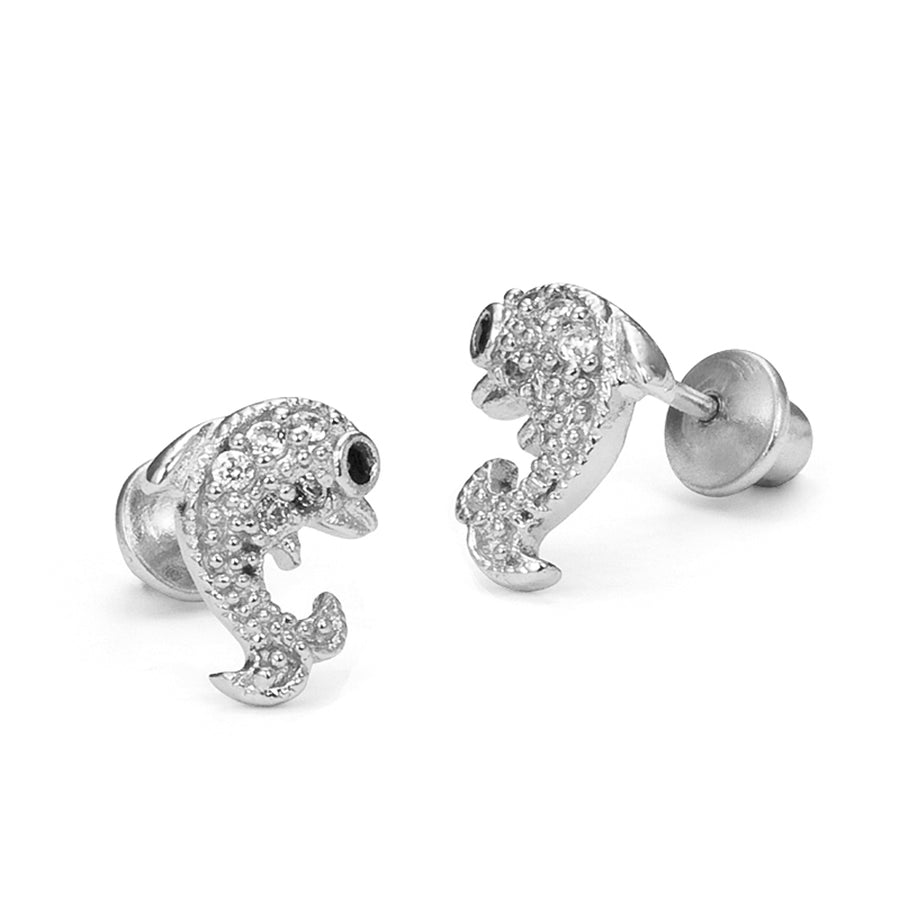 925 Sterling Silver Rhodium Plated Dolphin CZ Screwback Baby Girls Earrings