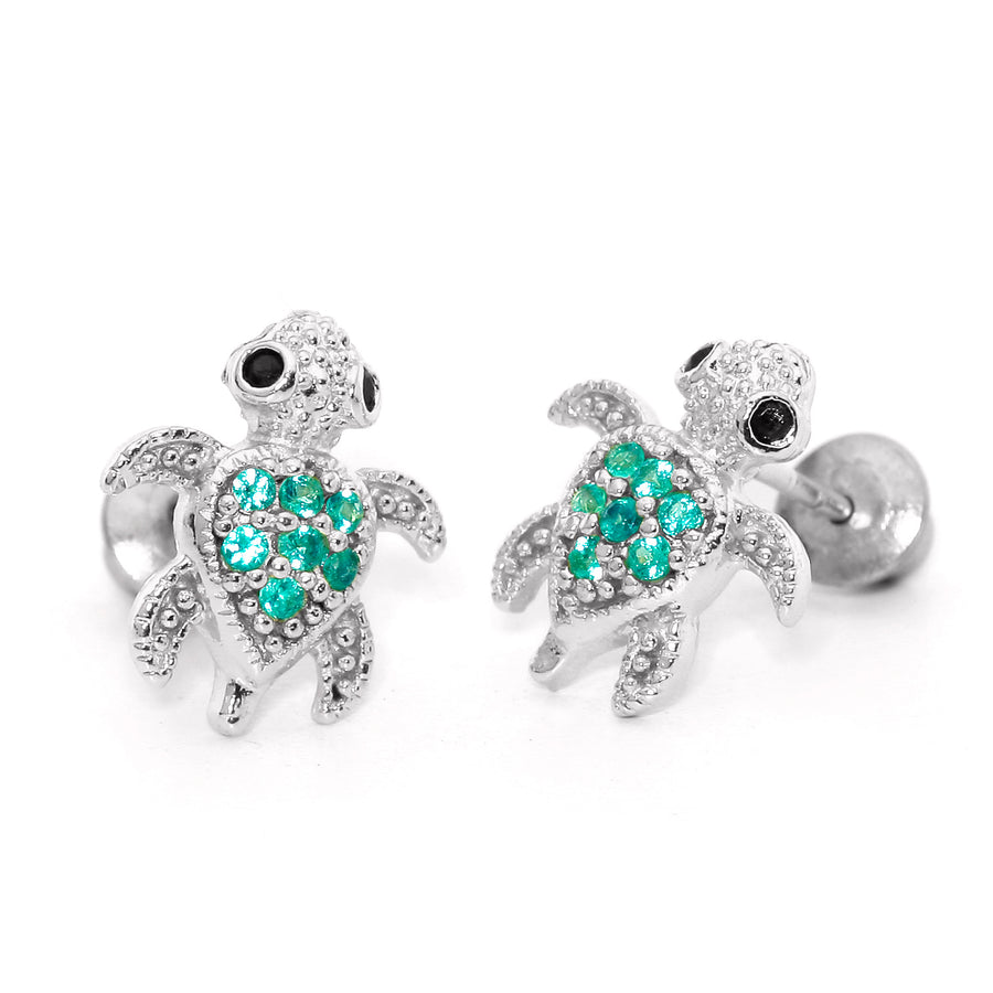 925 Sterling Silver Rhodium Plated Green Turtle CZ Screwback Baby Girls Earrings