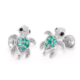 Sterling Silver Rhodium Plated Green Turtle Screwback Girls Earrings