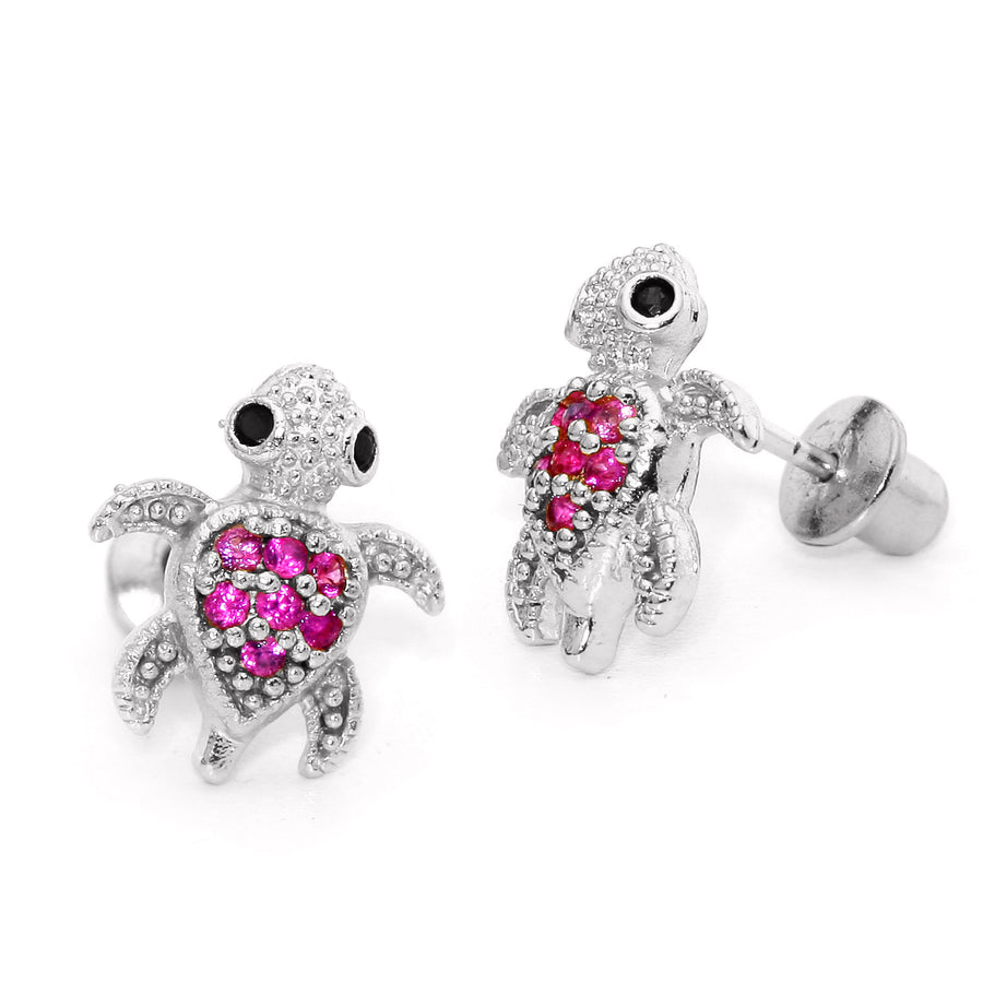 925 Sterling Silver Rhodium Plated Red Turtle CZ Screwback Baby Girls Earrings