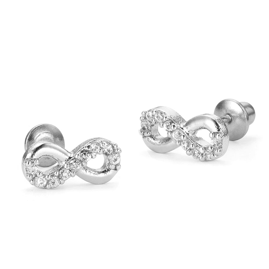 925 Sterling Silver Rhodium Plated Infintiy CZ Screwback Baby Girls Earrings