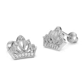 925 Sterling Silver Rhodium Plated Princess Crown Cubic Zirconia Screwback Baby Girls Earrings