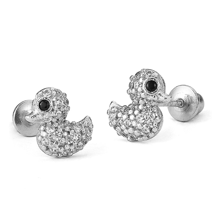 925 Sterling Silver Rhodium Plated Duck CZ Screwback Baby Girls Earrings