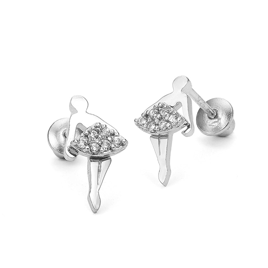 925 Sterling Silver Rhodium Plated Ballerina CZ Screwback Baby Girls Earrings