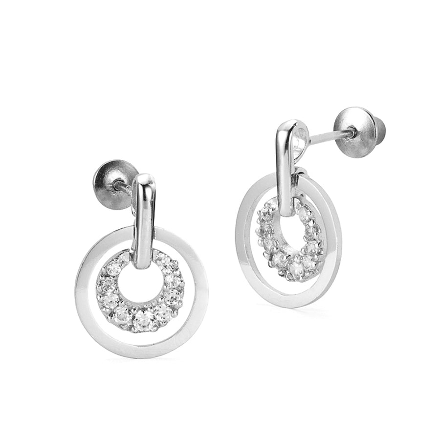 925 Sterling Silver Rhodium Plated Dangling CZ Screwback Baby Girls Earrings