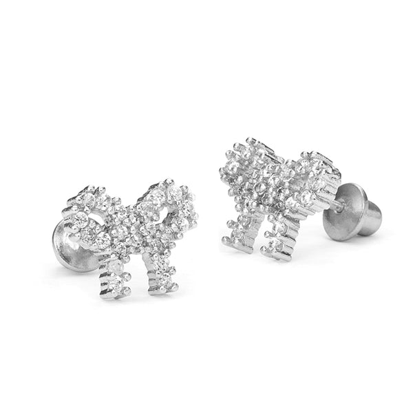 Sterling Silver Rhodium Plated CZ Ribbon Screwback Girls Earrings