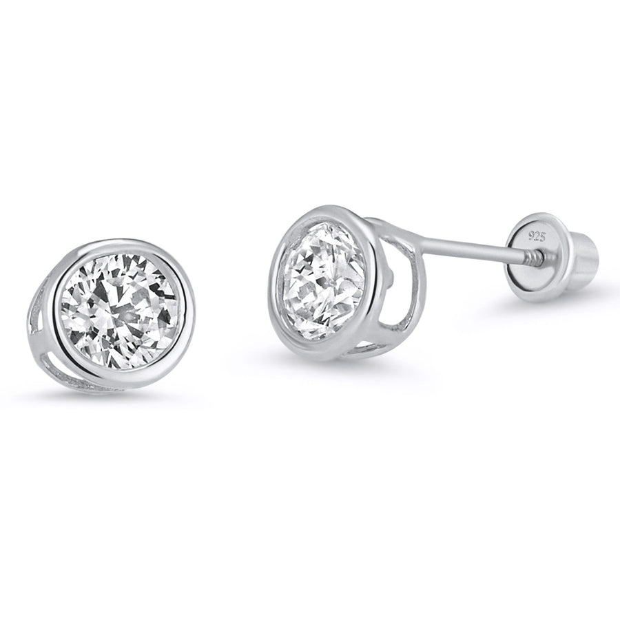 925 Sterling Silver Rhodium Plated 4mm Bezel CZ Screwback Baby Girls Earrings