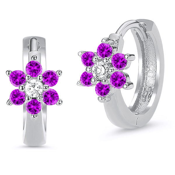 Sterling Silver Rhodium Plated Purple Flower Baby Hoop Huggy Girls Earrings