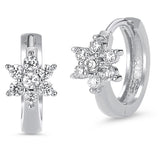 Sterling Silver Rhodium Plated Clear Flower Baby Hoop Huggy Girls Earrings