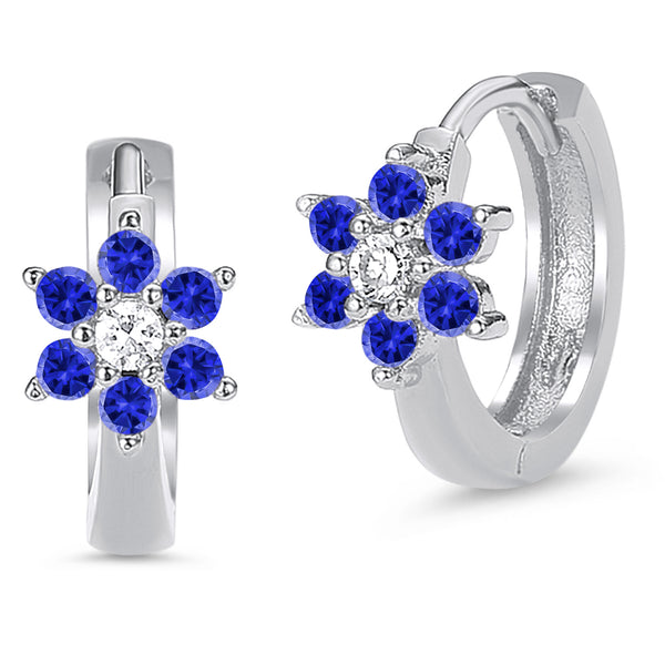 Sterling Silver Rhodium Plated Blue Flower Baby Hoop Huggy Girls Earrings