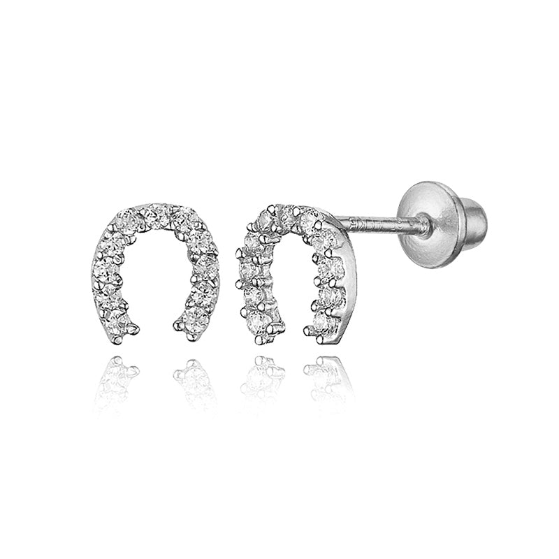 925 Sterling Silver Rhodium Plated Horseshoe CZ Screwback Baby Girls Earrings