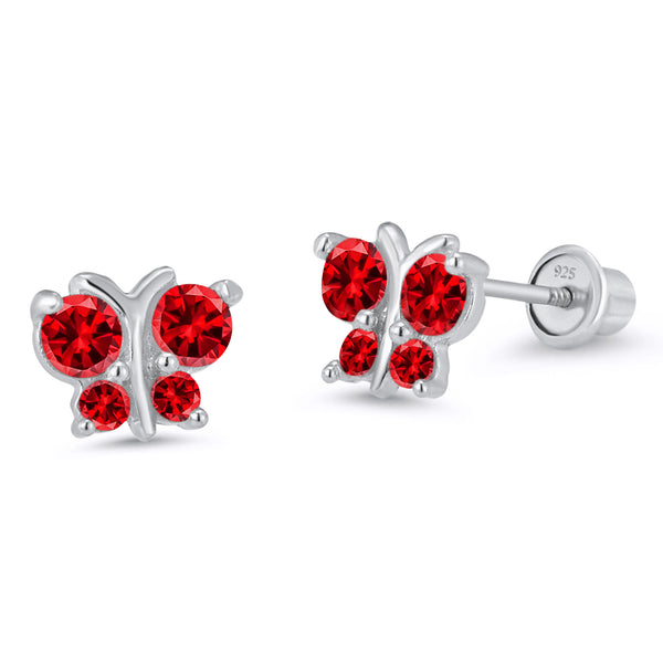 Sterling Silver Rhodium Plated Red Butterfly Screwback Girls Earrings
