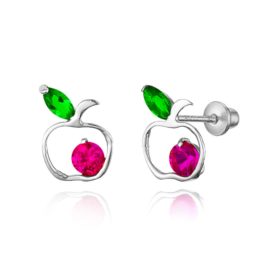 925 Sterling Silver Rhodium Plated Apple CZ Screwback Baby Girls Earrings