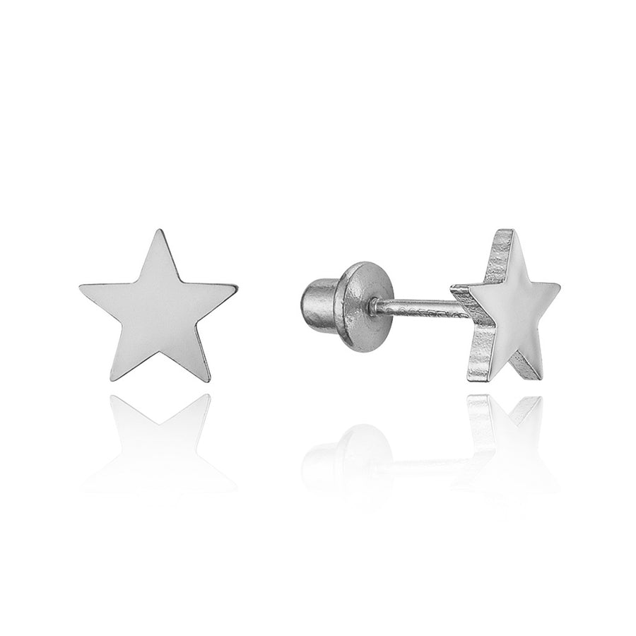 925 Sterling Silver Rhodium Plated Plain Star Screwback Baby Girls Earrings