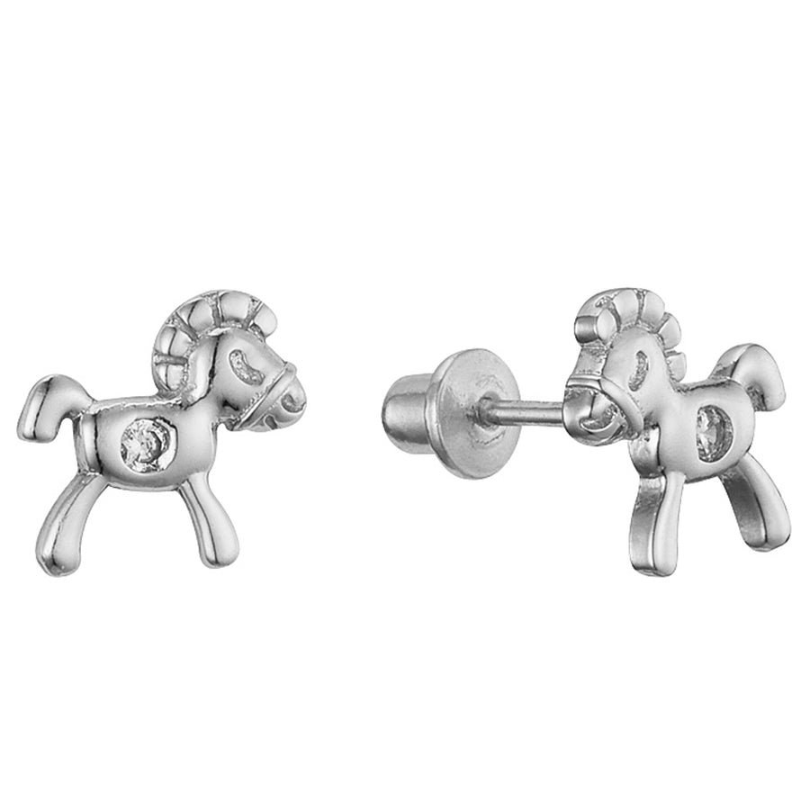 925 Sterling Silver Rhodium Plated Horse CZ Screwback Baby Girls Earrings