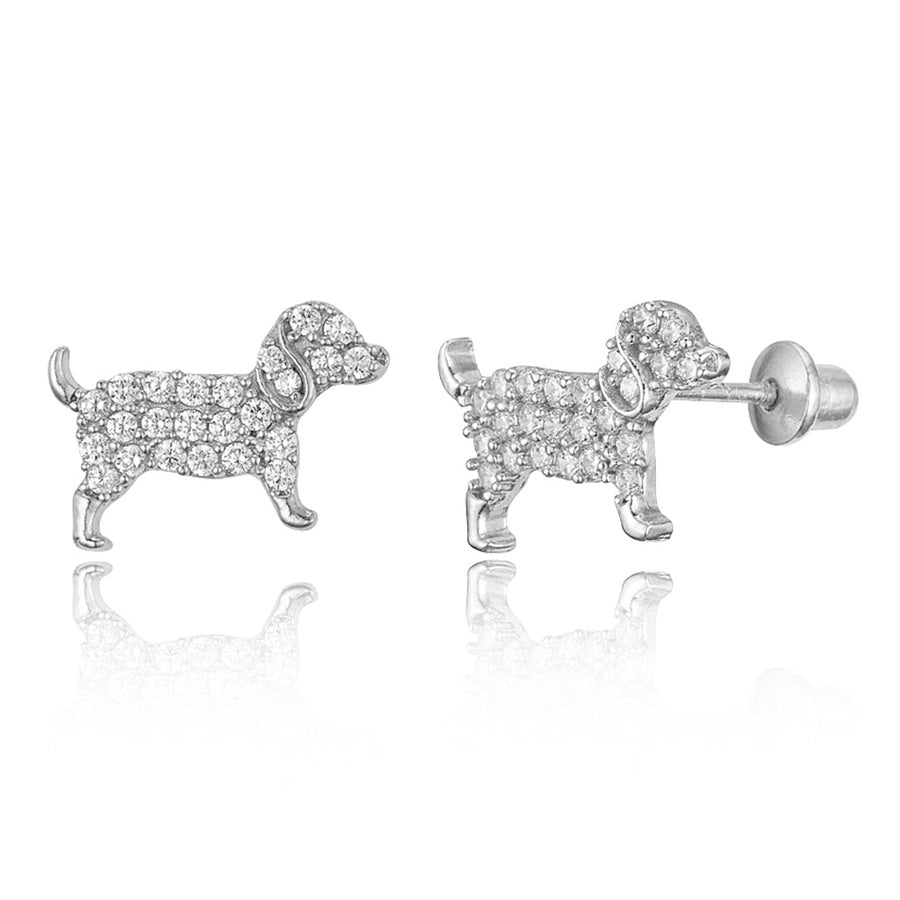 925 Sterling Silver Rhodium Plated Puppy Dog CZ Screwback Baby Girls Earrings