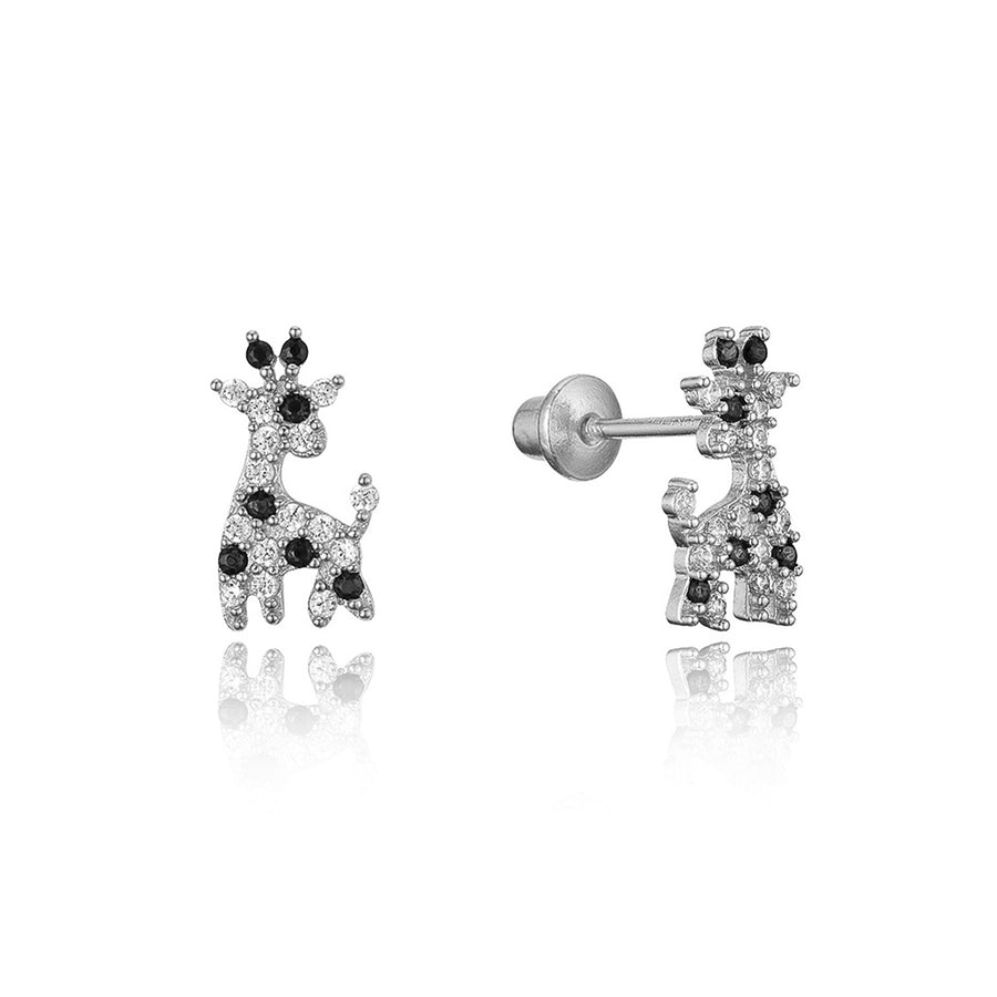 925 Sterling Silver Rhodium Plated Giraffe CZ Screwback Baby Girls Earrings