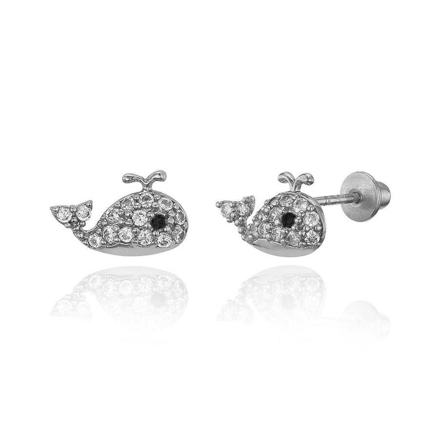 925 Sterling Silver Rhodium Plated Baby Whale CZ Screwback Baby Girls Earrings