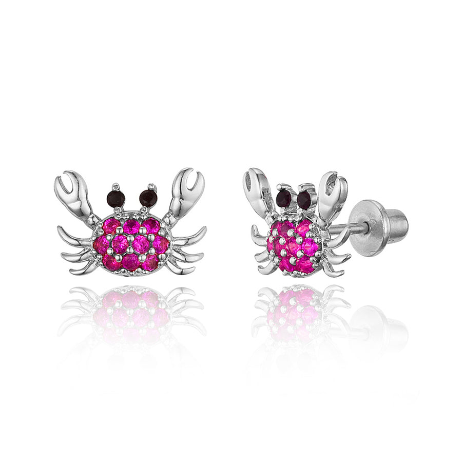 925 Sterling Silver Rhodium Plated Red Crab CZ Screwback Baby Girls Earrings