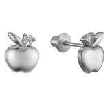 925 Sterling Silver Rhodium Plated Apple Cubic Zirconia Screwback Baby Girls Earrings