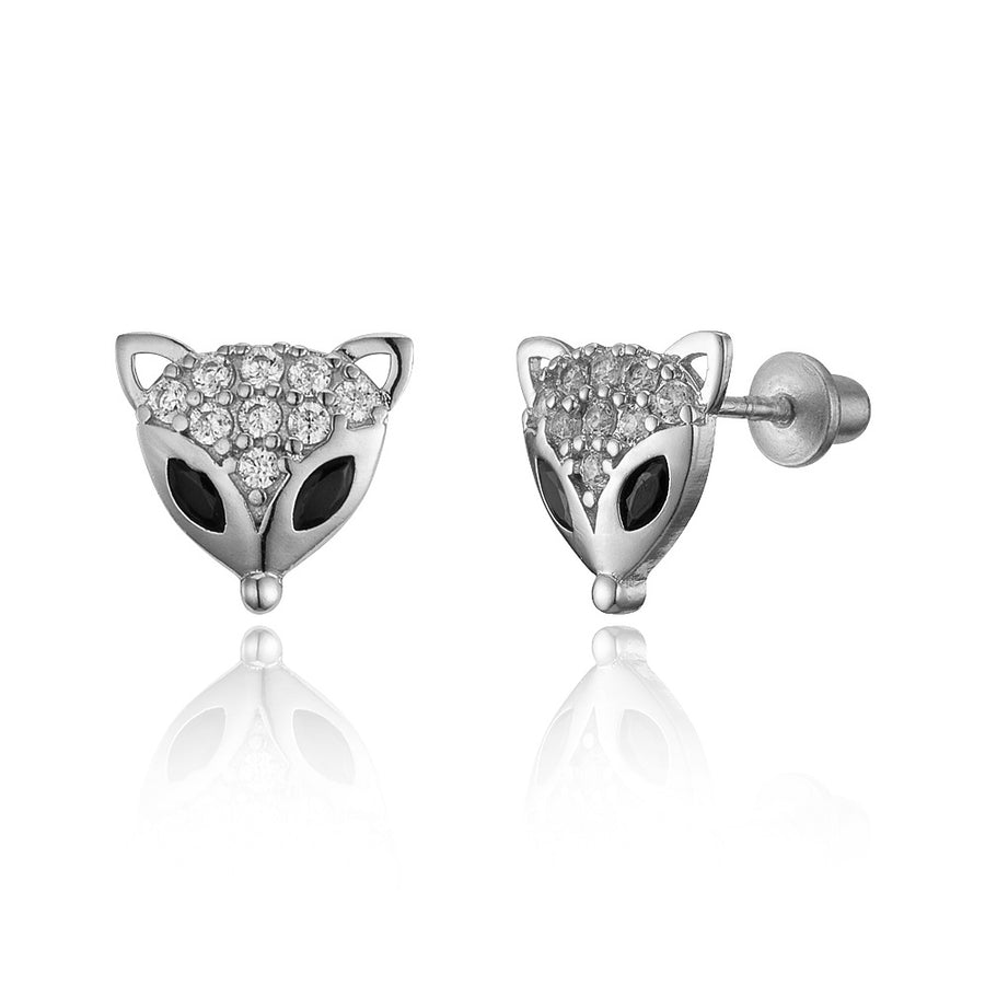925 Sterling Silver Rhodium Plated Fox CZ Screwback Baby Girls Earrings