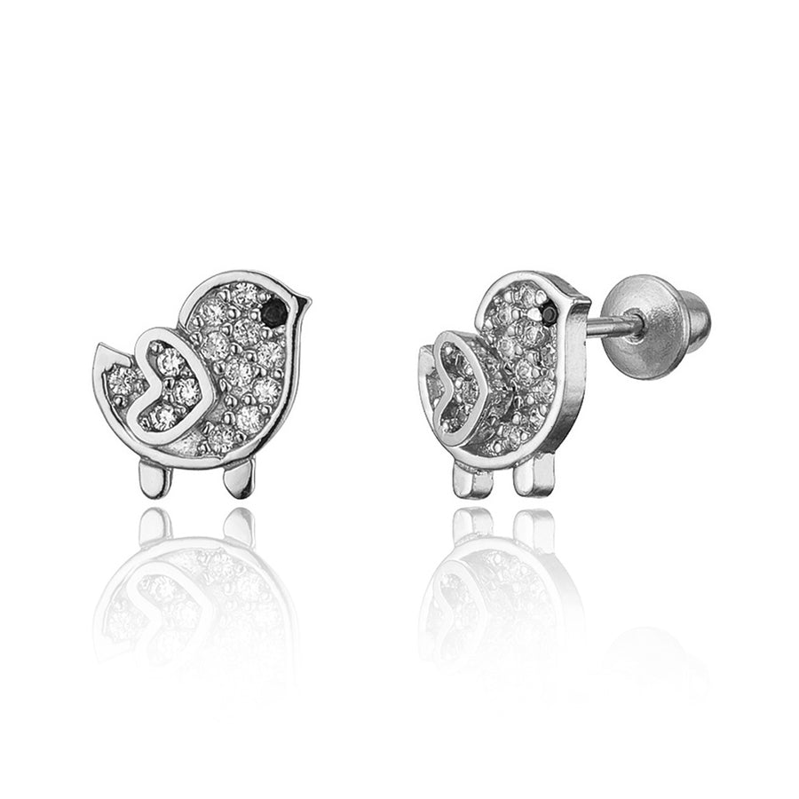 925 Sterling Silver Rhodium Plated Chick CZ Screwback Baby Girls Earrings