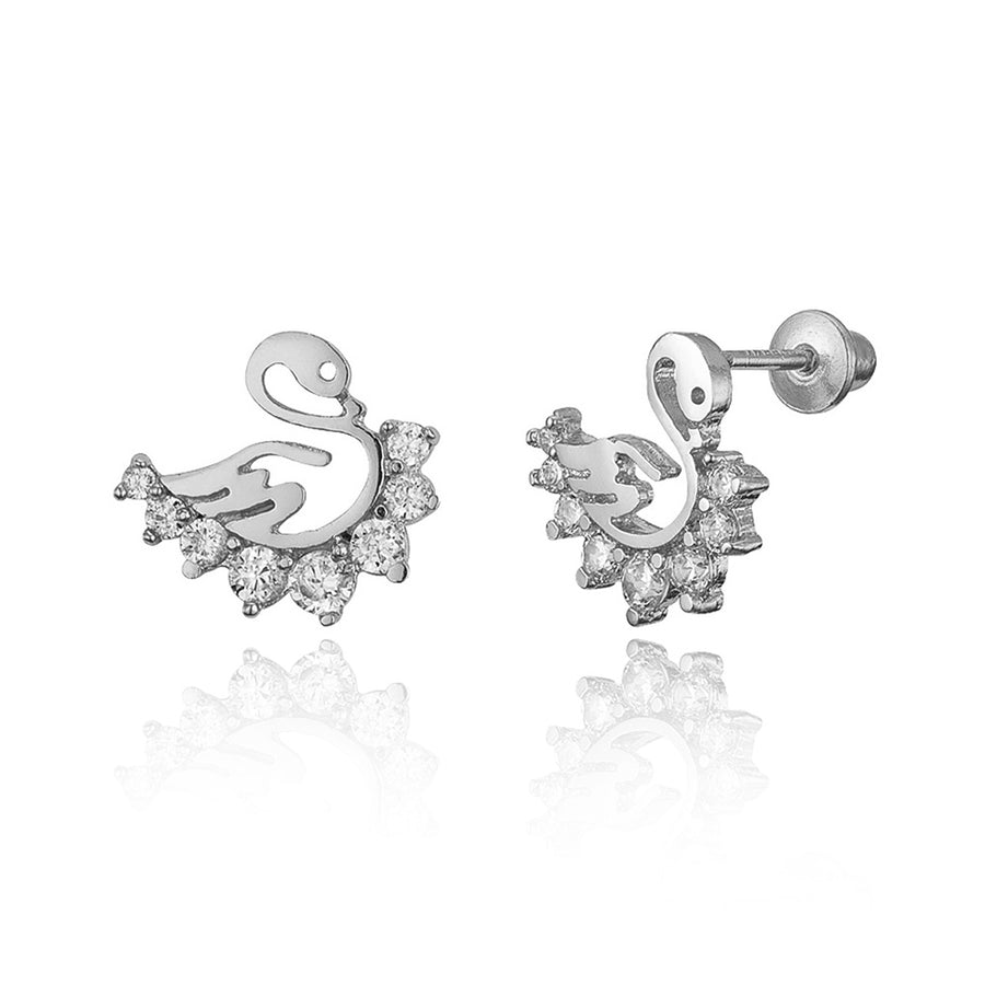 925 Sterling Silver Rhodium Plated Swan CZ Screwback Baby Girls Earrings