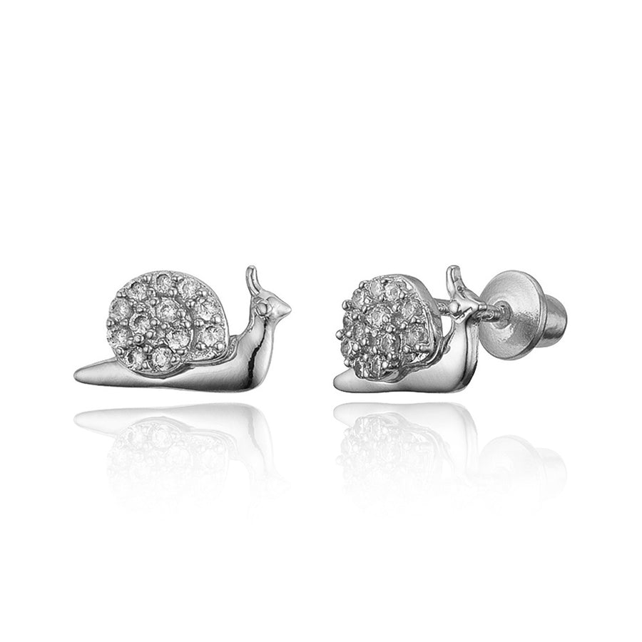 925 Sterling Silver Rhodium Plated Snail CZ Screwback Baby Girls Earrings