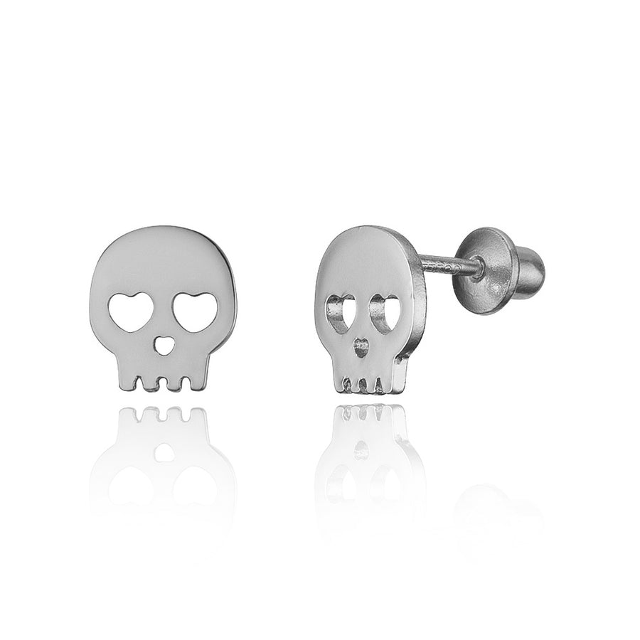 925 Sterling Silver Rhodium Plated Skull CZ Screwback Baby Girls Earrings